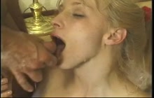 Eager sluts in eating cum