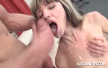 Petite minx tries double-anal in orgy
