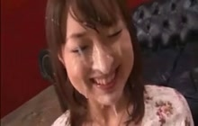 Japanese girl gets covered with cum