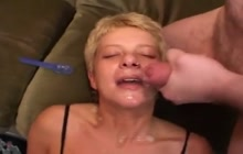 Whore getting facialized in a gangbang