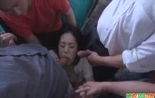Schoolgirl getting facialized in public