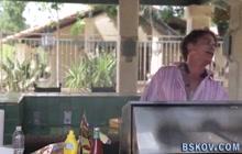 Busty pornstar blows massive cock